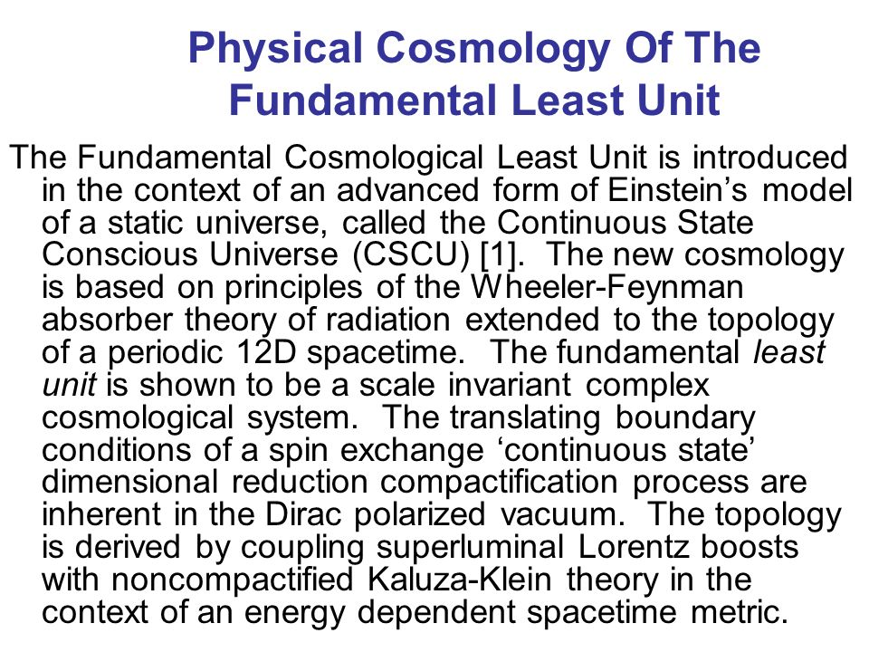 Physical Cosmology Of The Fundamental Least Unit