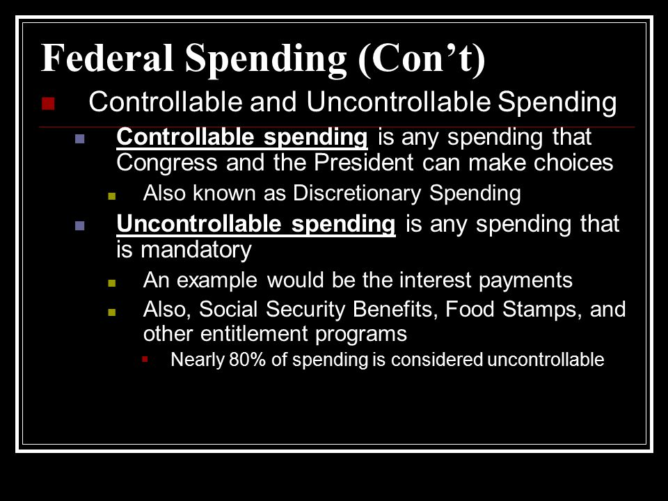 Federal Spending (Con't)