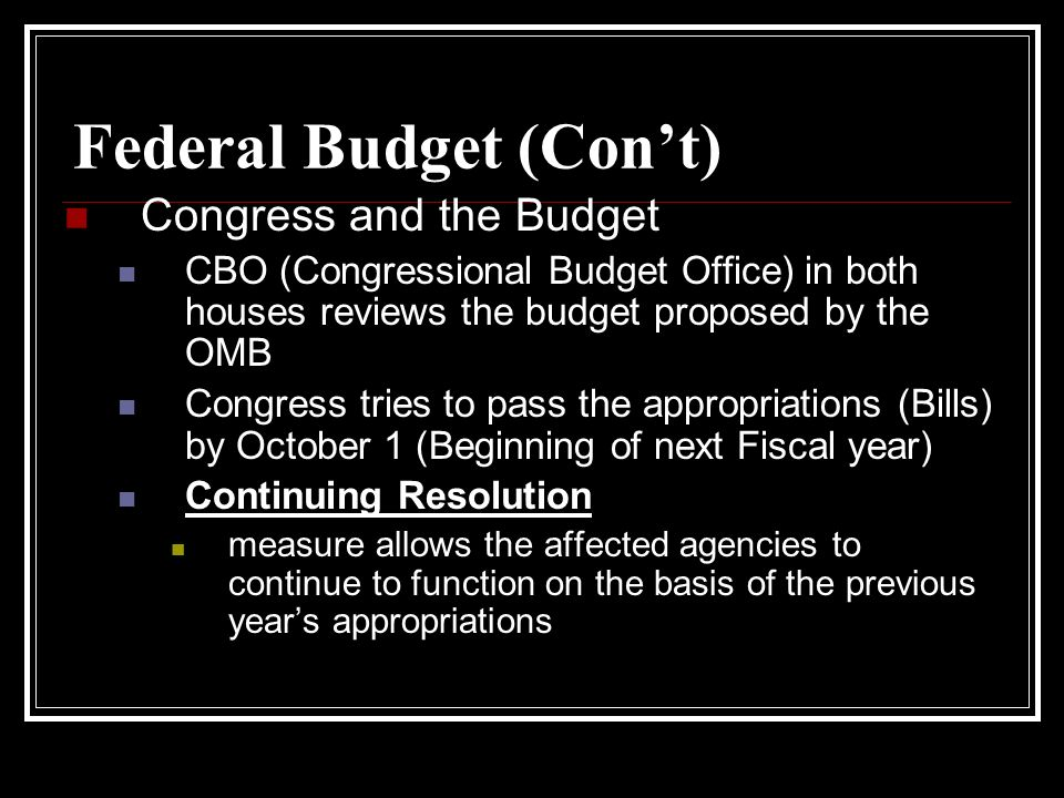 Federal Budget (Con't)