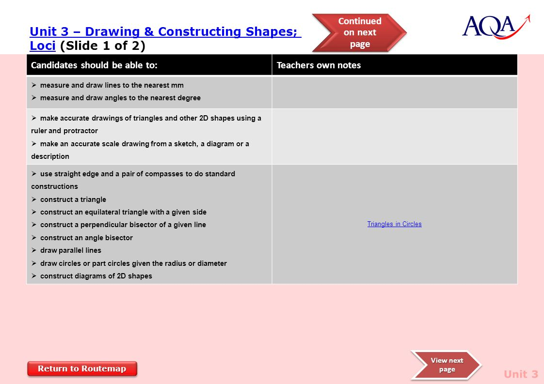 Drawing Lines To Nearest Mm : Aqa gcse mathematics route map foundation tier