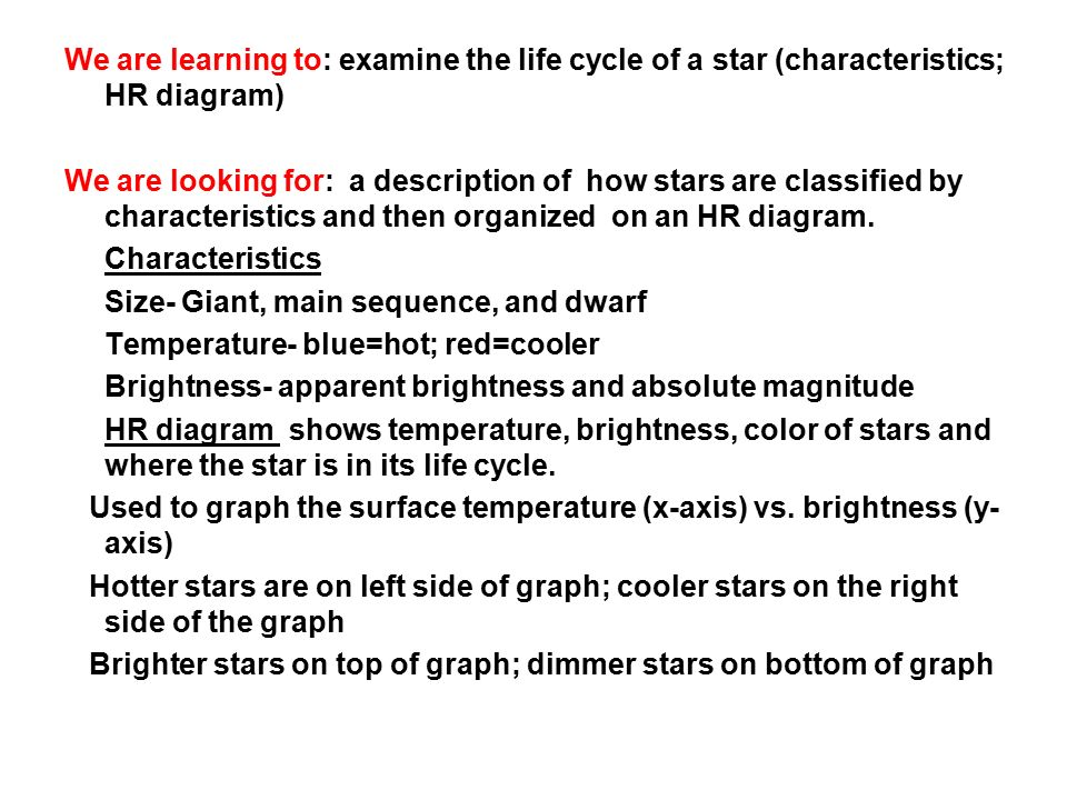 Fadtp ppt download we are learning to examine the life cycle of a star characteristics hr ccuart Image collections