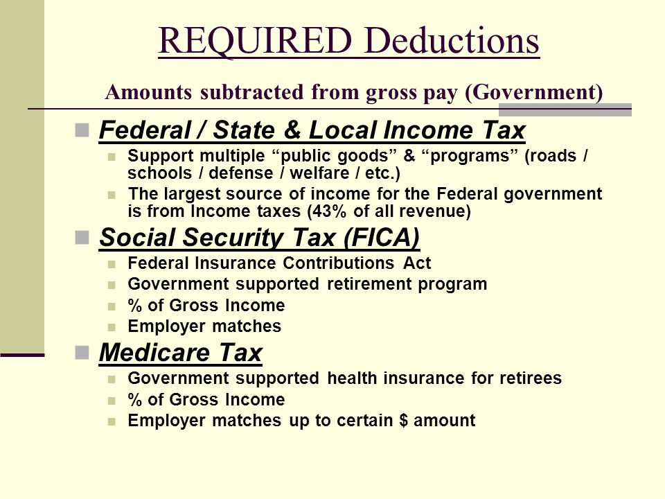 REQUIRED Deductions Amounts subtracted from gross pay (Government)