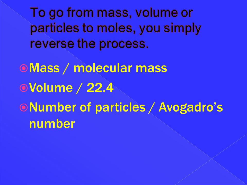 Number of particles / Avogadro's number