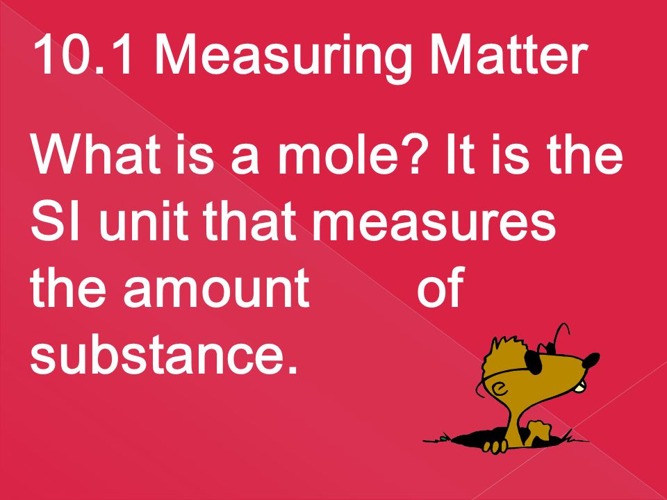 10.1 Measuring Matter What is a mole.