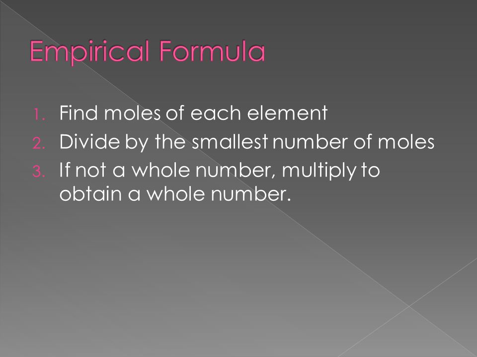 Empirical Formula Find moles of each element