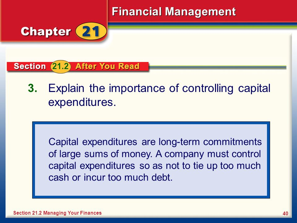 the meaning and importance of capital expenditure Capital budgeting decisions are of paramount importance in financial decision the need and importance of capital budgeting decisions are explained briefly in this article.