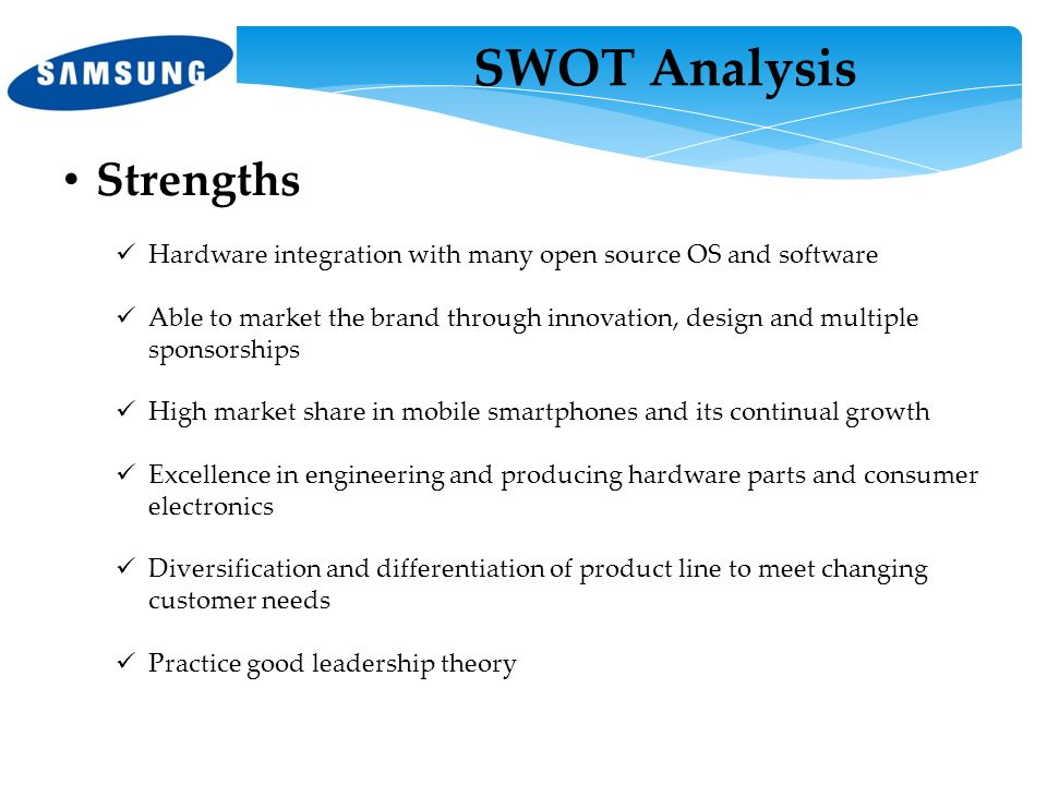 samsung swot analysis The first smartphones combined the functions of a personal digital assistant with a mobile phone later models added the functionality of portable.