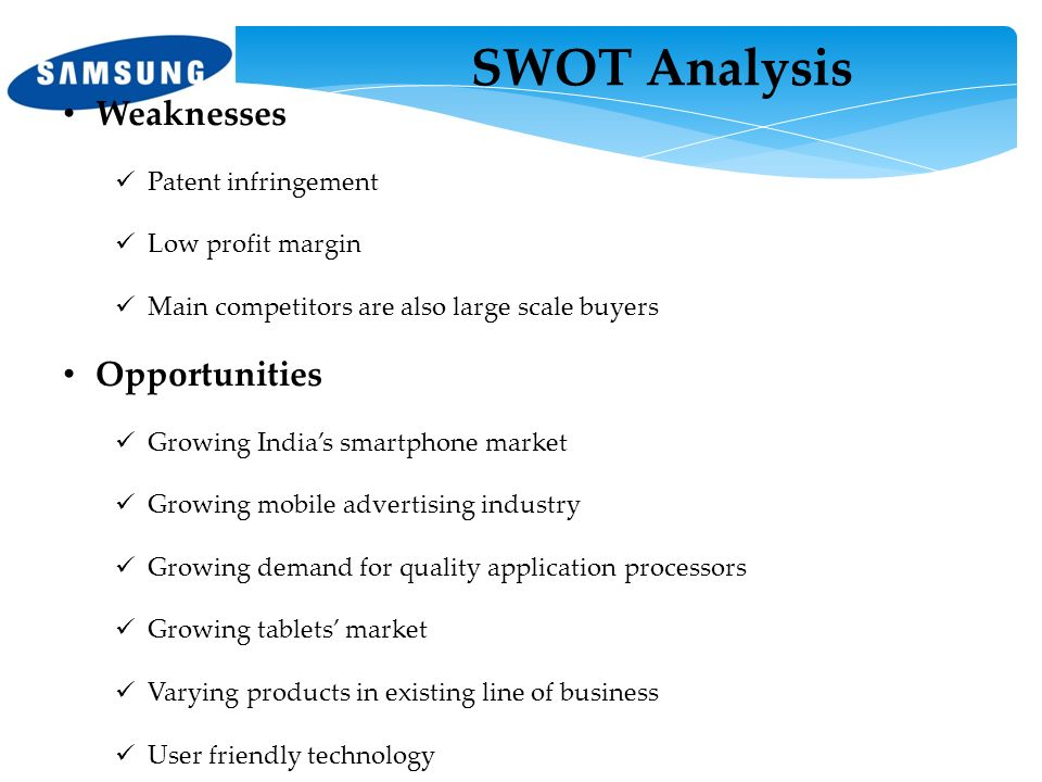 SWOT Analysis Weaknesses Opportunities Patent infringement