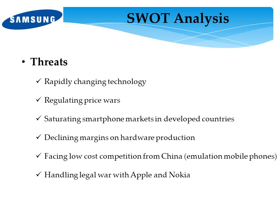 SWOT Analysis Threats Rapidly changing technology