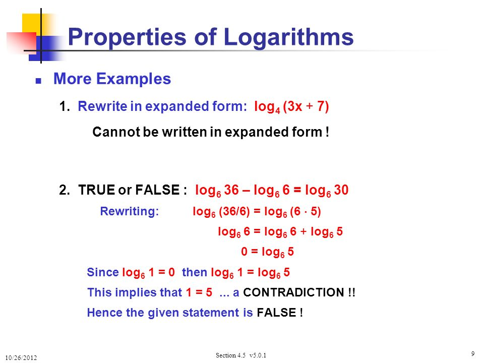 Logarithm Worksheets