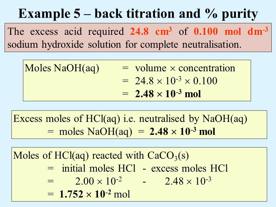 back titration calcium carbonate Calcium analysis by edta titration carbonate deposits in the earth, hardness is usually reported as total parts per million calcium carbonate by weight.
