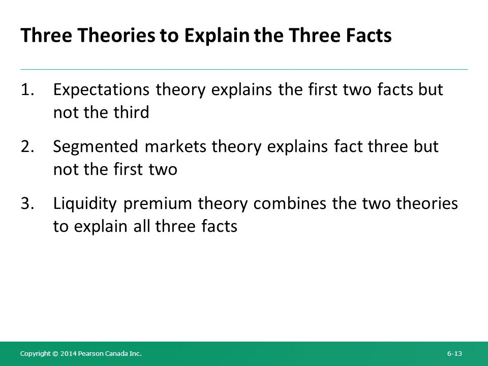 Three Theories to Explain the Three Facts