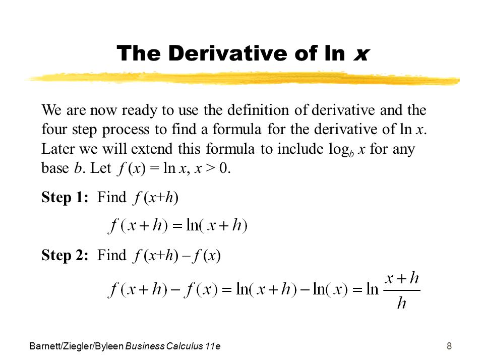Objectives for section 112 derivatives of explog functions ppt the derivative of ln x sciox Choice Image