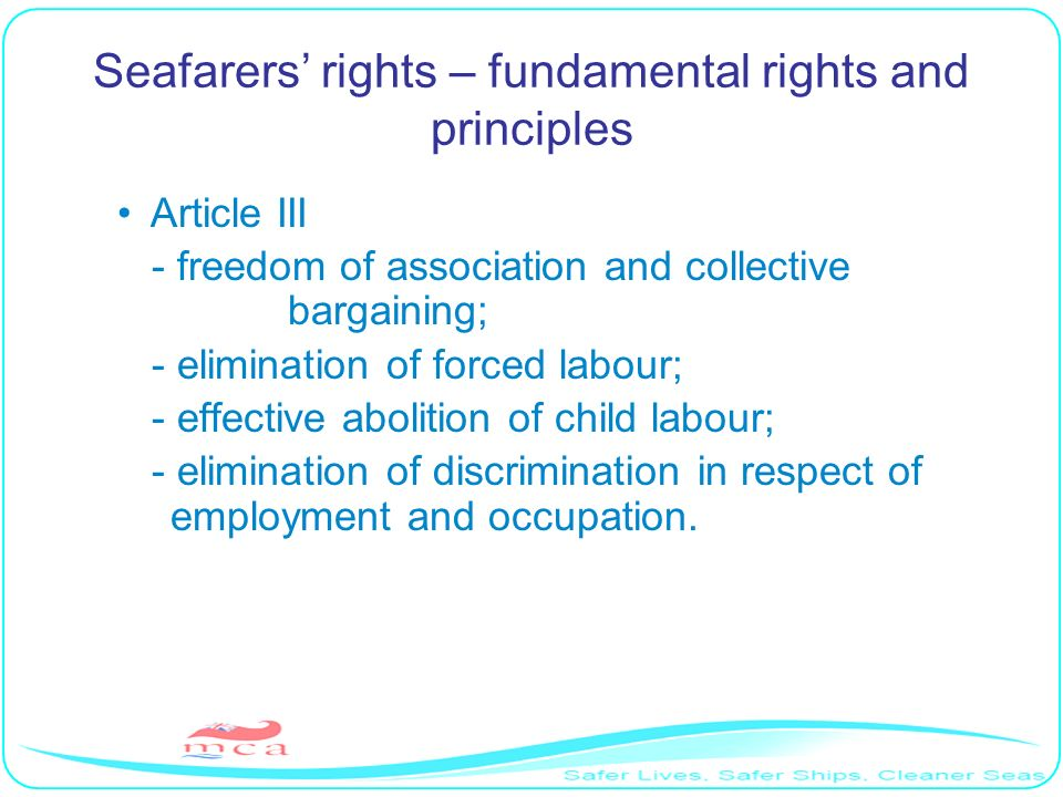 Seafarers' rights – fundamental rights and principles