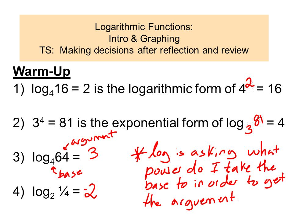 1) log416 = 2 is the logarithmic form of 4░ = 16