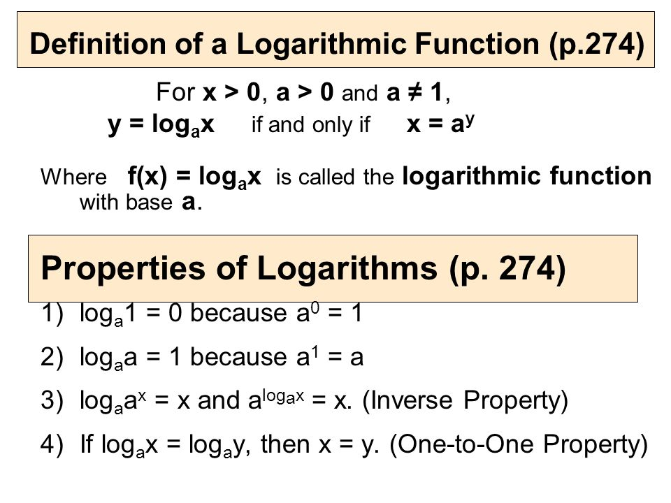 1) log416 = 2 is the logarithmic form of 4· = ppt download