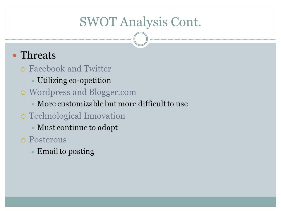 SWOT Analysis Cont. Threats Facebook and Twitter