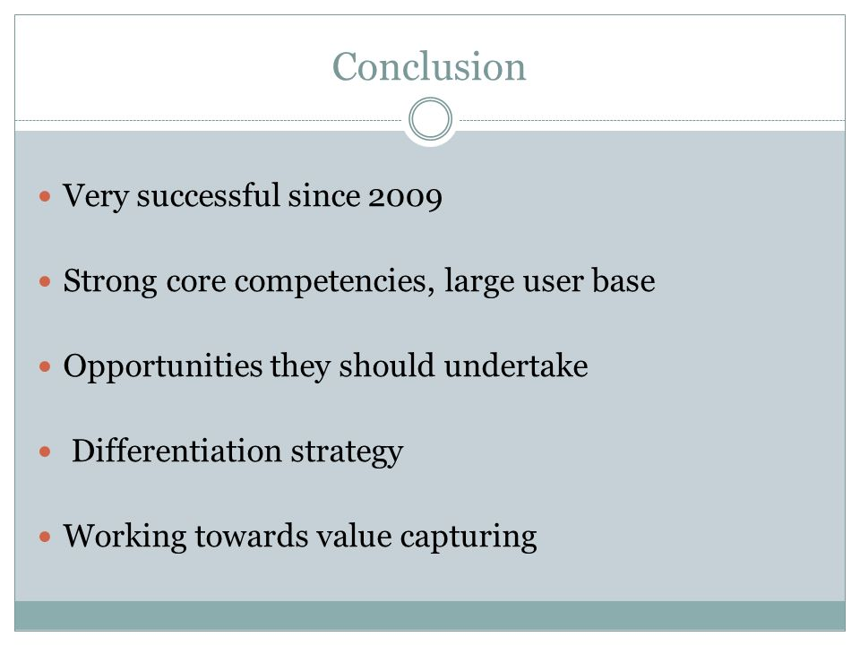 Conclusion Very successful since 2009
