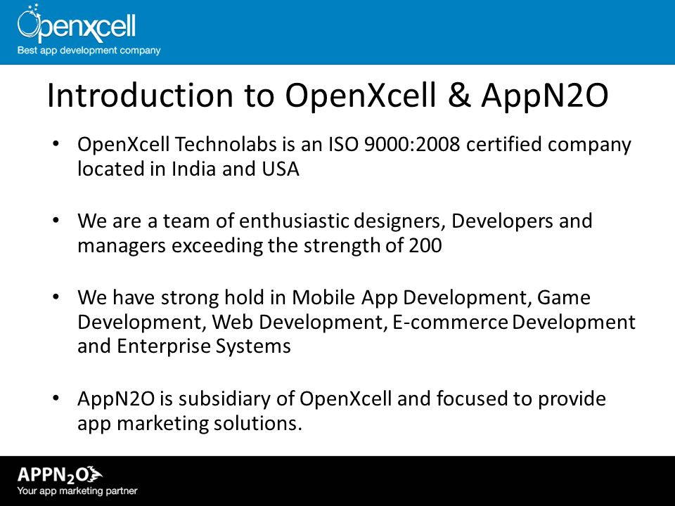 Introduction to OpenXcell & AppN2O