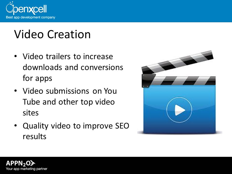 Video Creation Video trailers to increase downloads and conversions for apps. Video submissions on You Tube and other top video sites.