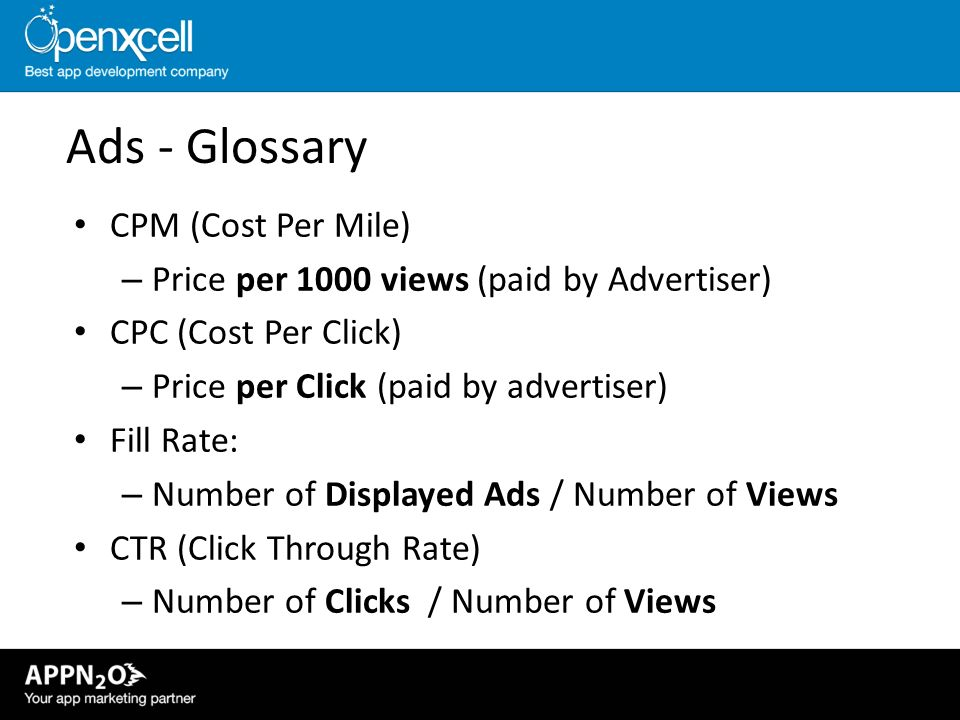 Ads - Glossary CPM (Cost Per Mile)