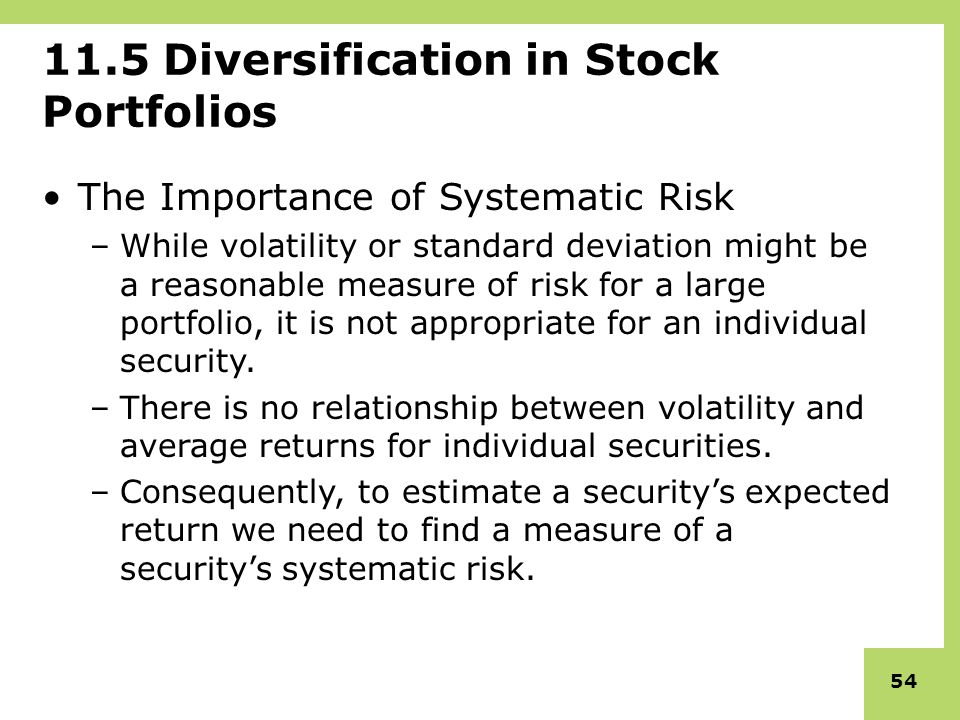 portfolio diversification and the relationship to risk return