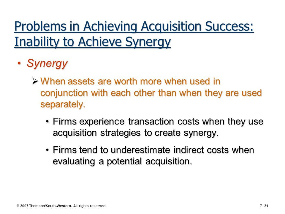 synergy theory of merger and acquisition Key words: value creation, mergers and acquisitions, synergy, value   section discusses synergistic theory, the valuation of synergies, and ends with a  short.