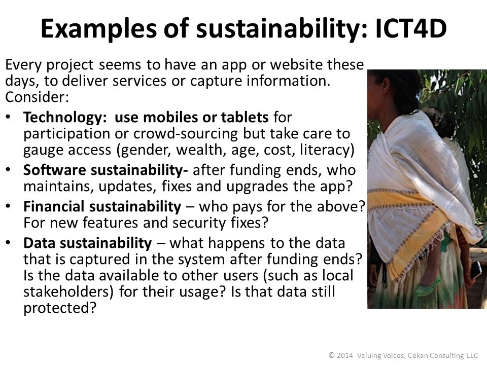 Examples of sustainability: ICT4D