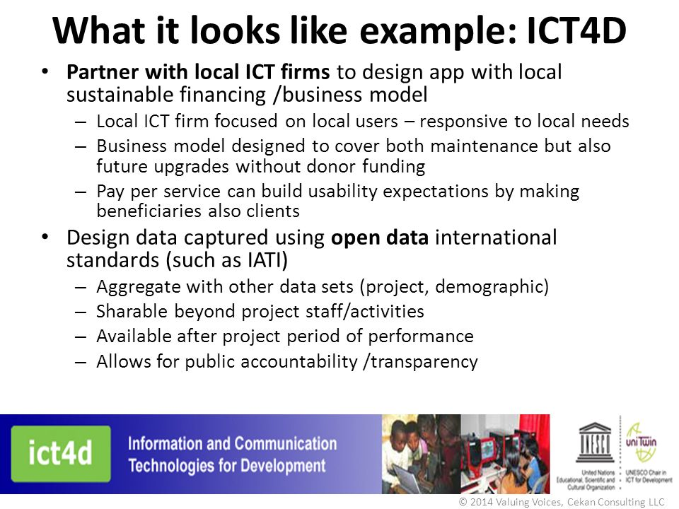 What it looks like example: ICT4D