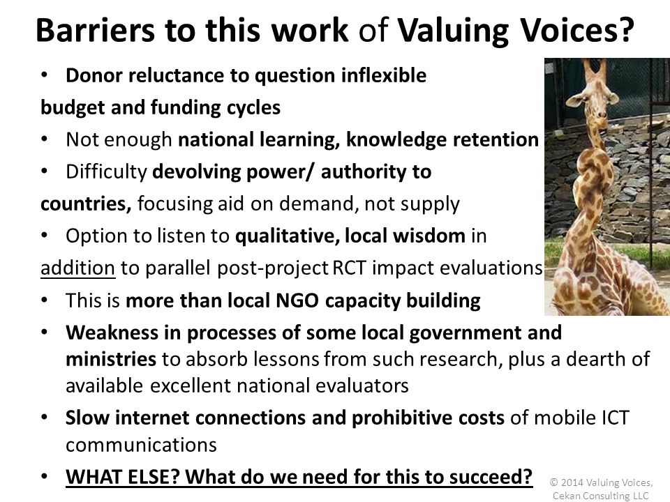 Barriers to this work of Valuing Voices