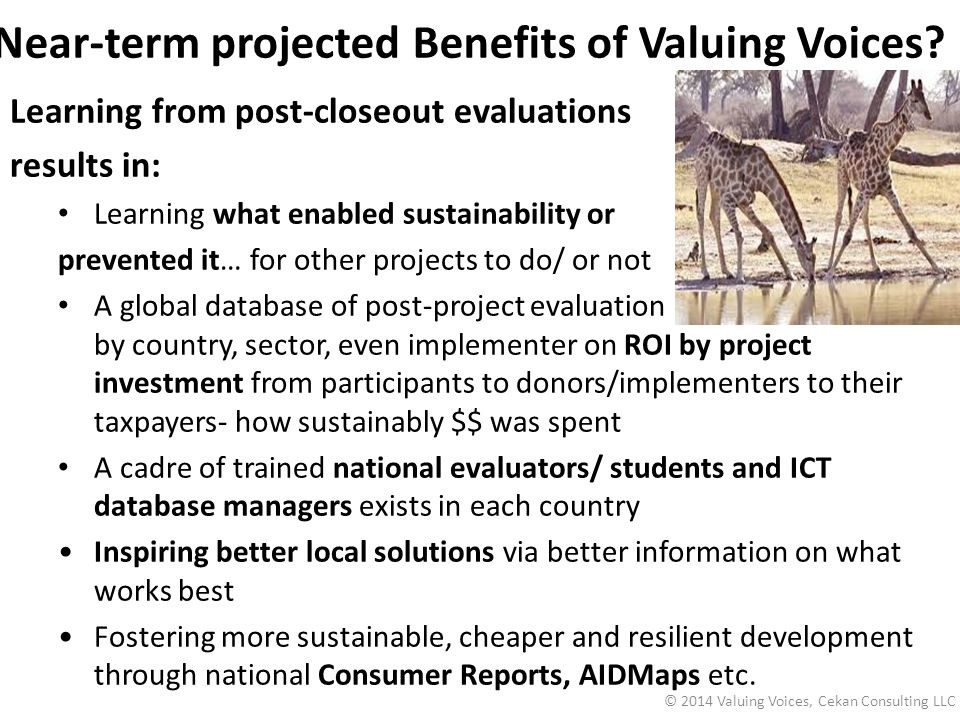 Near-term projected Benefits of Valuing Voices