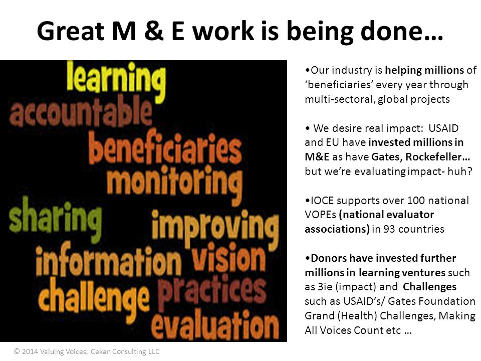 Great M & E work is being done…