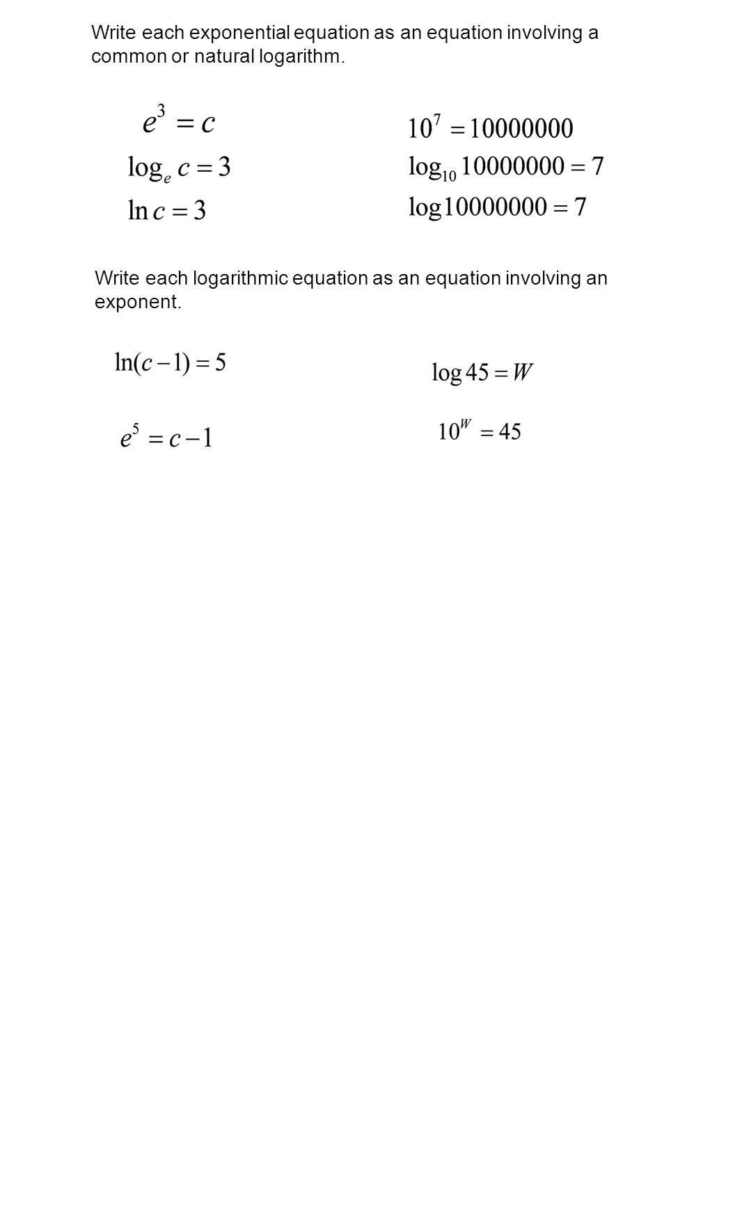 worksheet Solving Exponential And Logarithmic Equations Worksheet exponential and logarithmic functions equations ppt download write each equation as an involving a common or natural logarithm