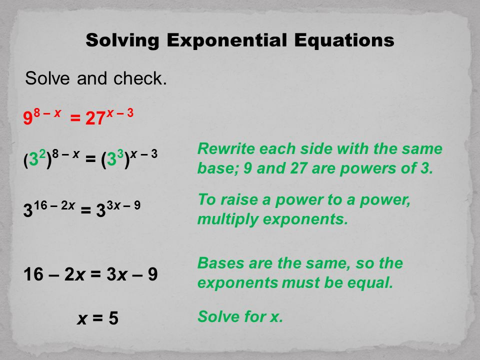 Exponential and Logarithmic Equations - ppt download