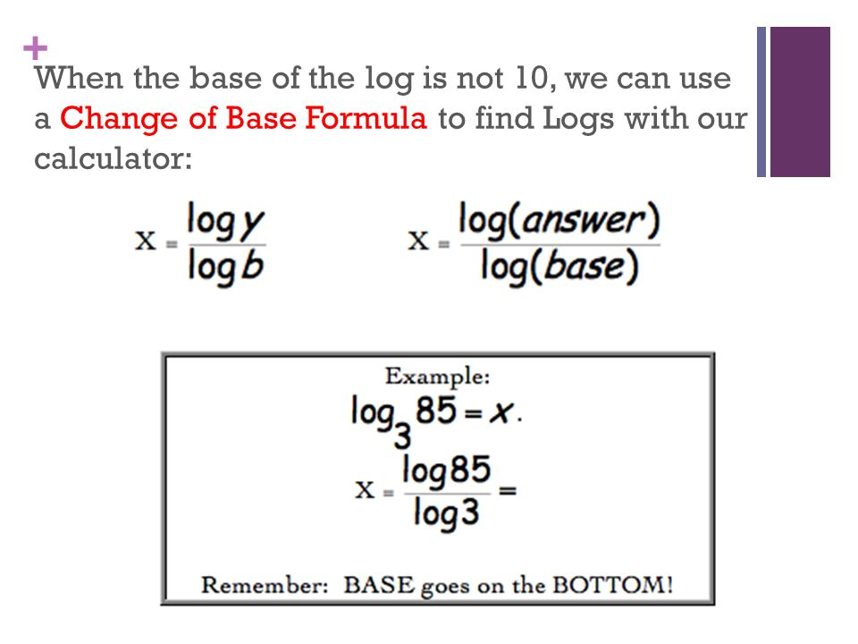graphing calculator log base  logarithm at the end of