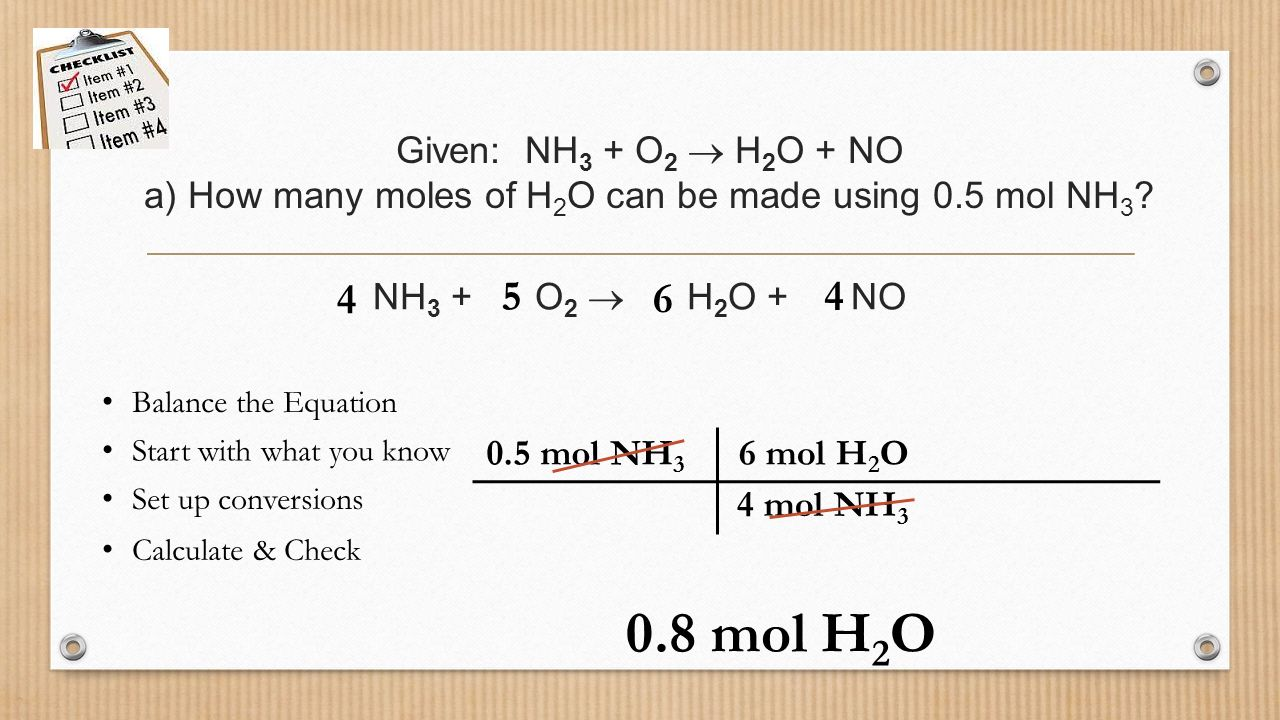 Stoichiometry mrs page chem ppt video online download given nh3 o2 h2o no a how many moles of h2o gamestrikefo Images