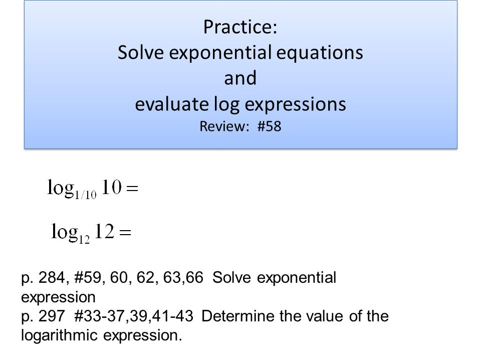 exponential equations practice tessshebaylo. Black Bedroom Furniture Sets. Home Design Ideas