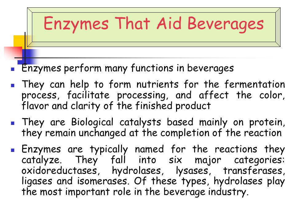 an analysis of enzymes in foods and drinks Food enzymes are used in manufacturing process of various types of beverages such as alcoholic, non-alcoholic, ready to drink coffee & tea, carbonated drinks.