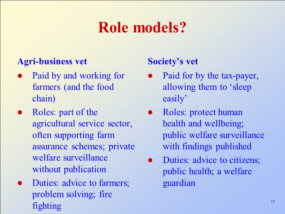 Role models Agri-business vet Society's vet
