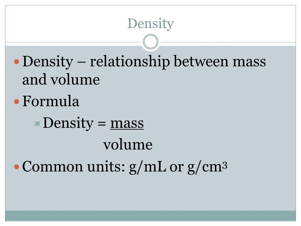 how does the relationship between mass and volume affect density