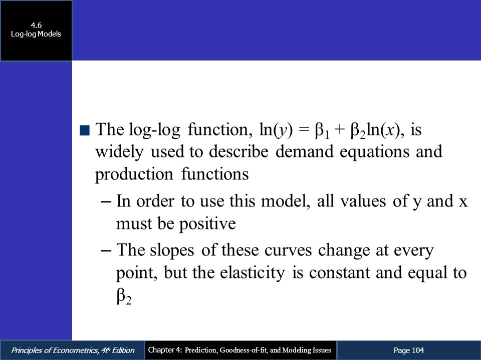 In order to use this model, all values of y and x must be positive