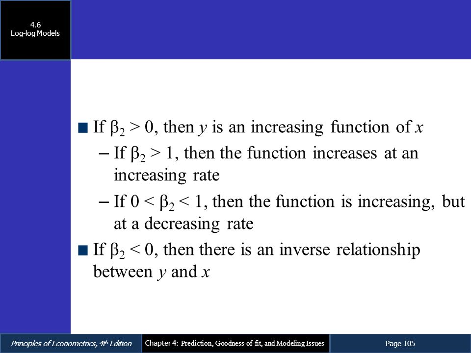 If β2 > 0, then y is an increasing function of x