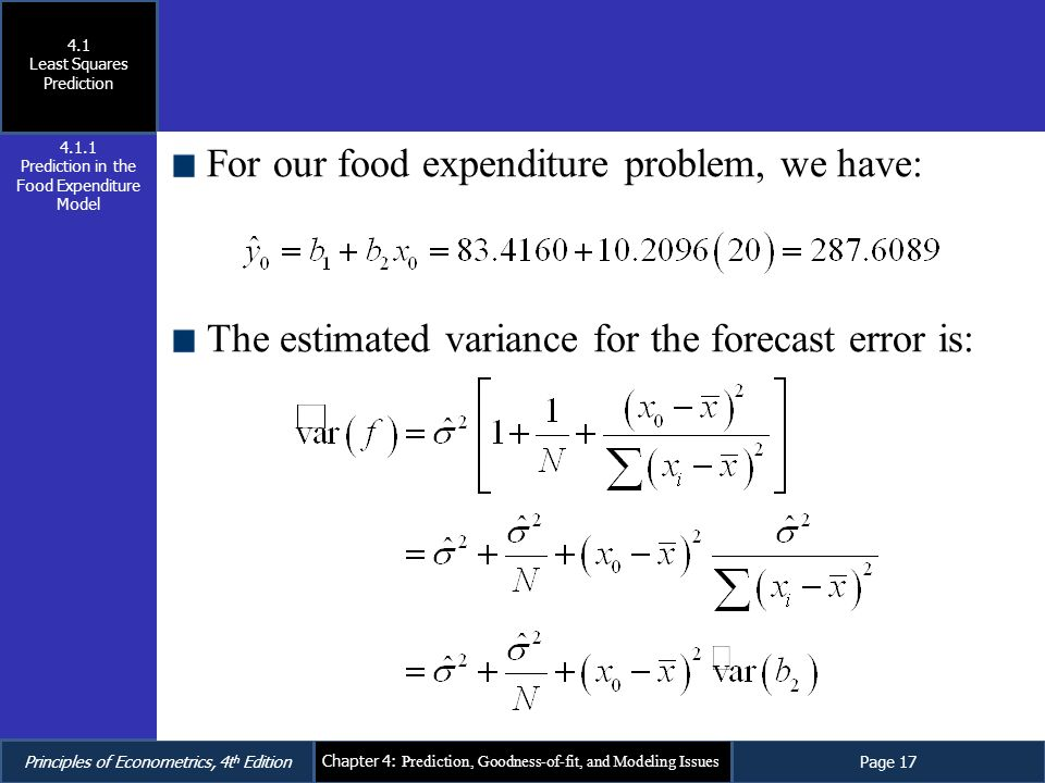 For our food expenditure problem, we have: