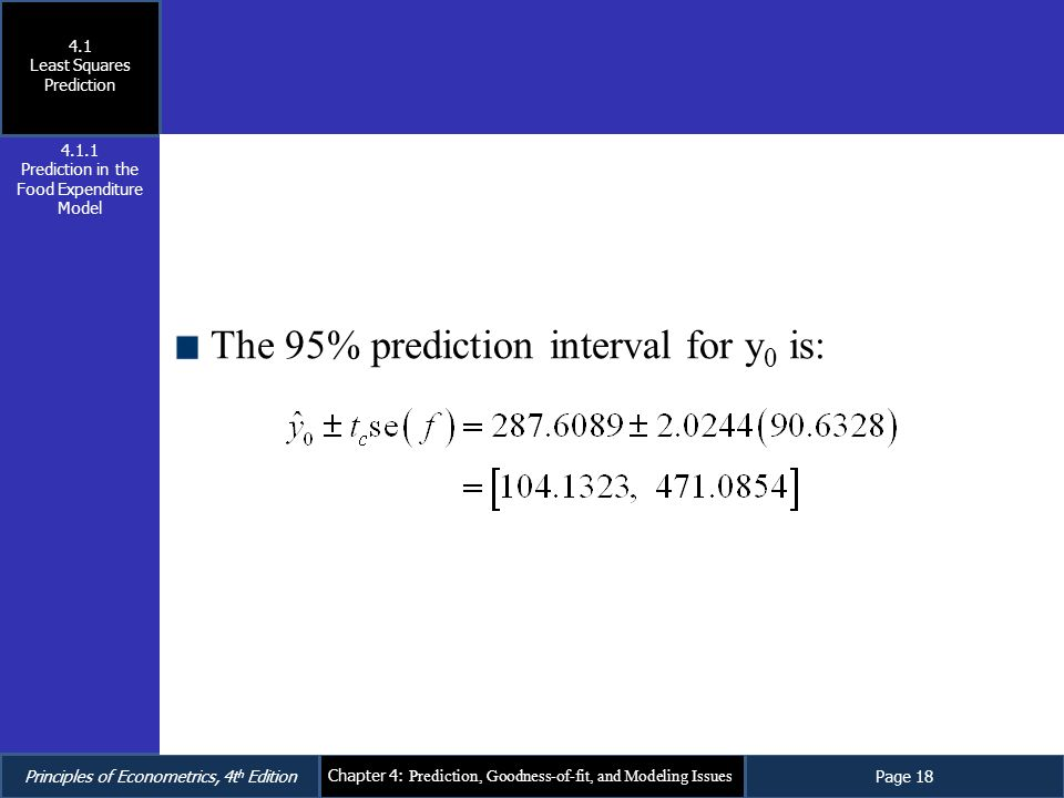The 95% prediction interval for y0 is: