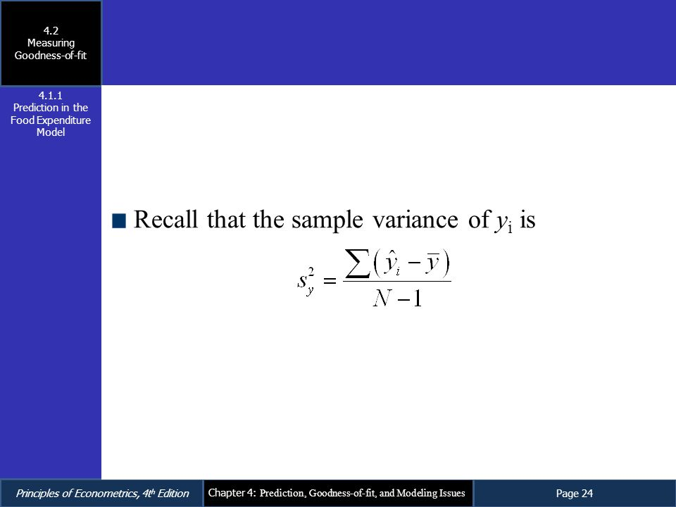 Recall that the sample variance of yi is