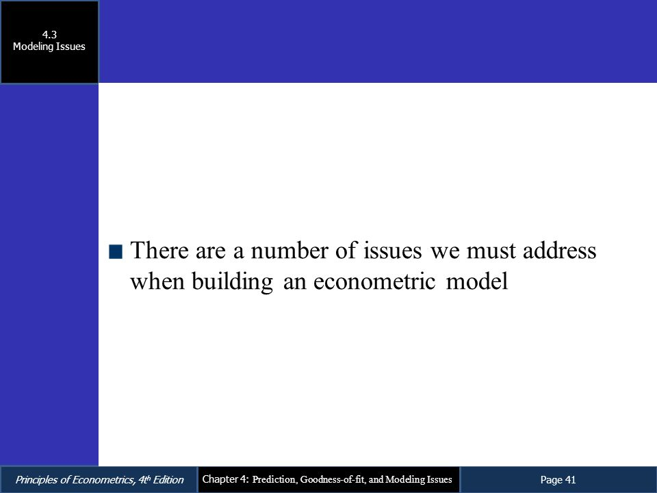 4.3 Modeling Issues There are a number of issues we must address when building an econometric model