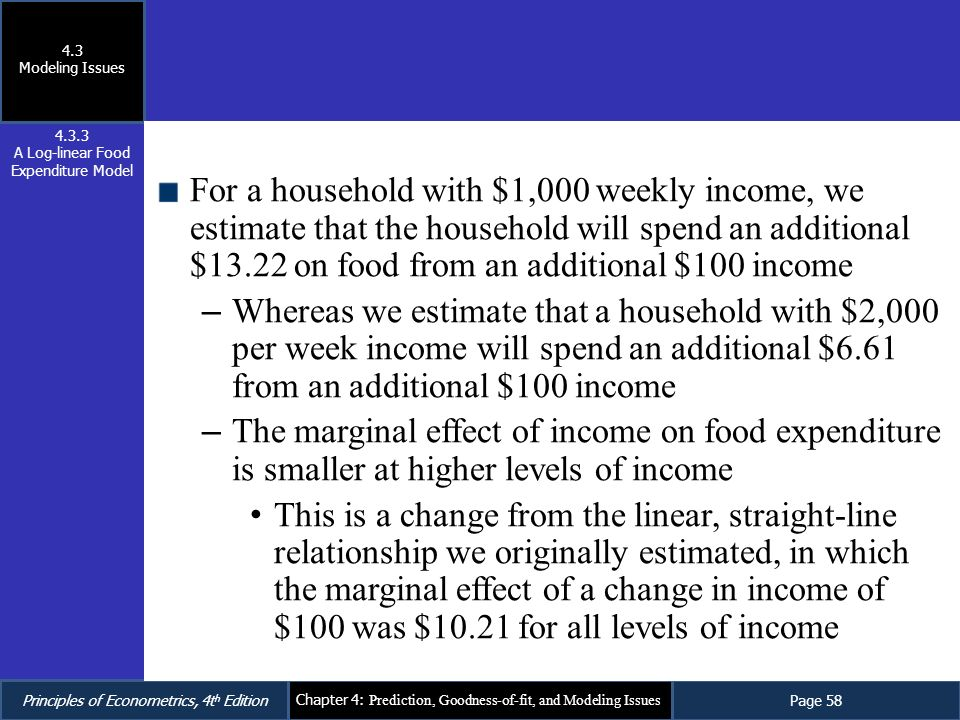 A Log-linear Food Expenditure Model