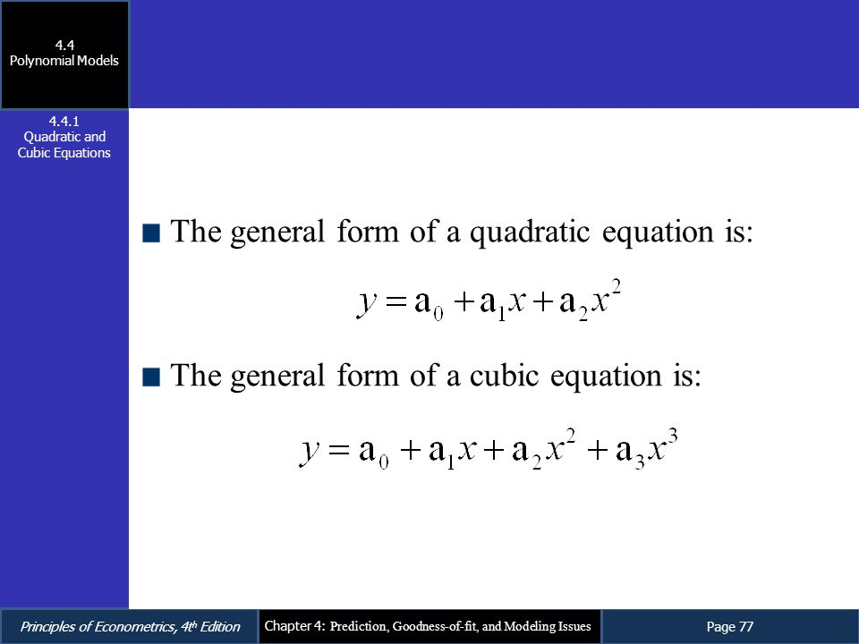 Quadratic and Cubic Equations