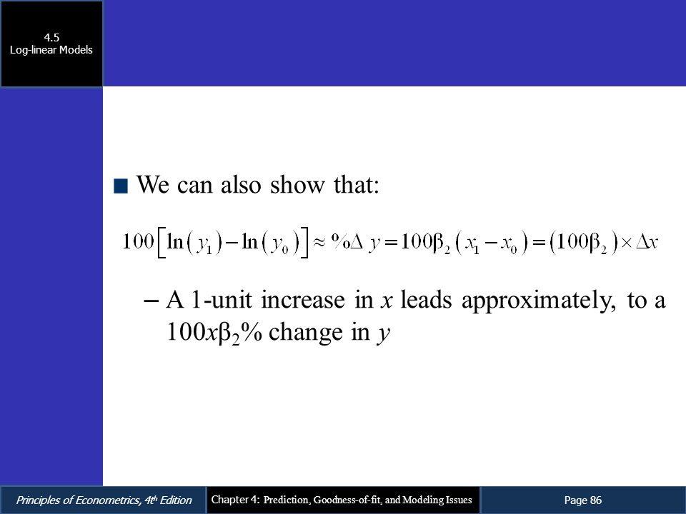 A 1-unit increase in x leads approximately, to a 100xβ2% change in y