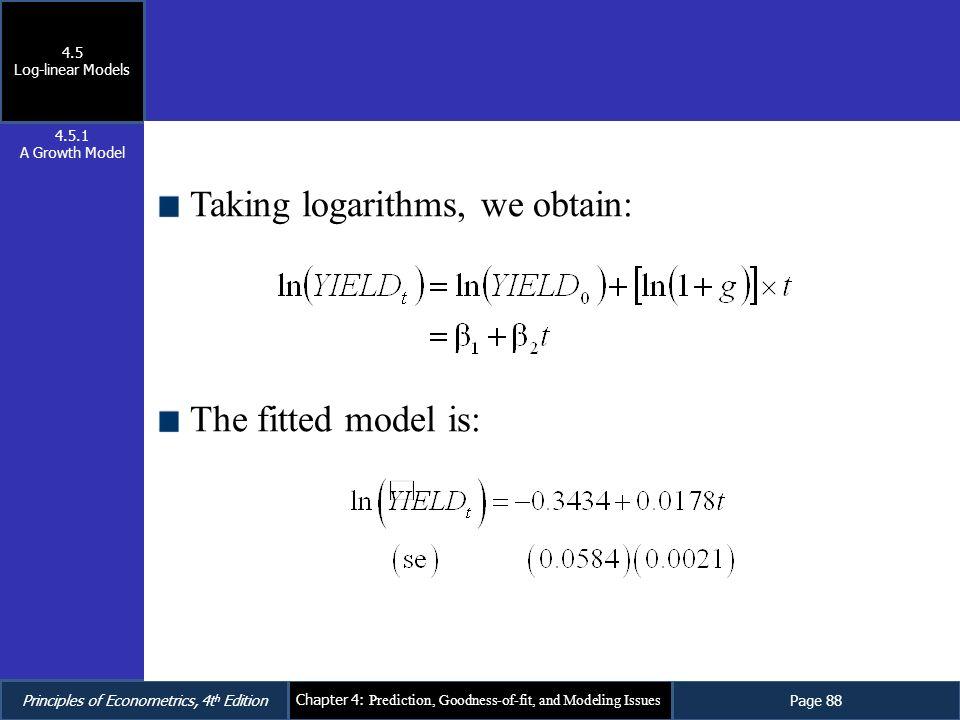 Taking logarithms, we obtain: